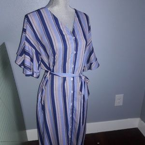 Slaydon and rose striped womens dress Large belted